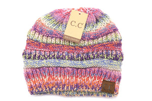 Multi Color Cable Knit CC Beanie