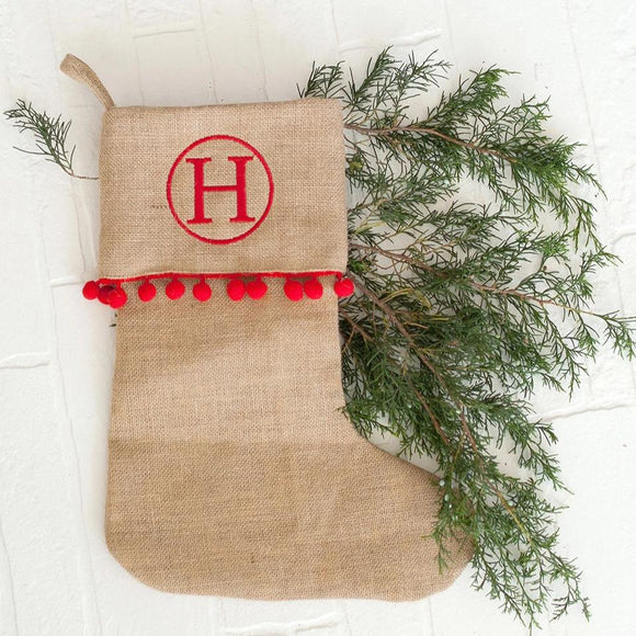 Burlap Stocking with Trim