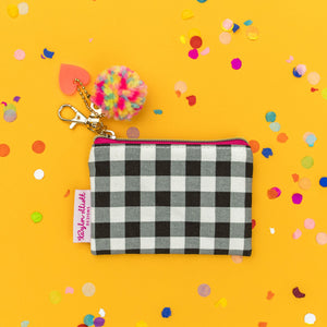 Mini Black Gingham Card Holder Keychain