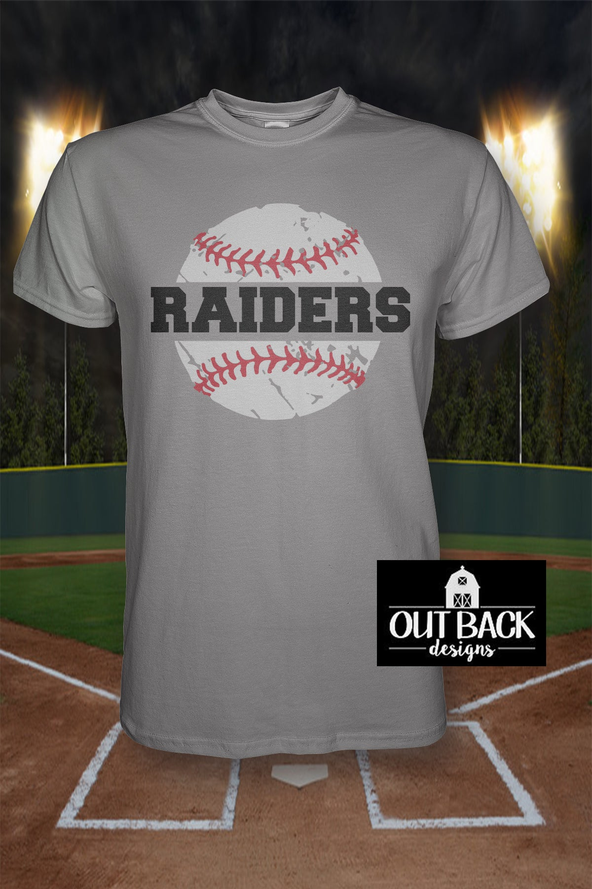 Split Baseball Softball With Team Name Vinyl T Shirt Out