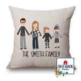 Personalized Family Throw Pillow Cover