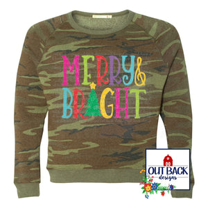 Merry & Bright Camo Sweatshirt