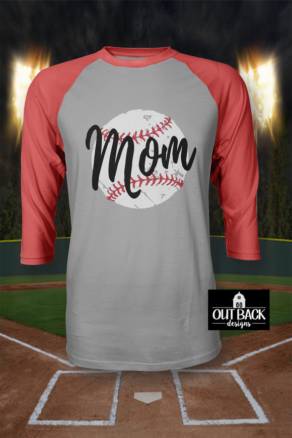 Distressed Mom Baseball/Softball Vinyl T-Shirt
