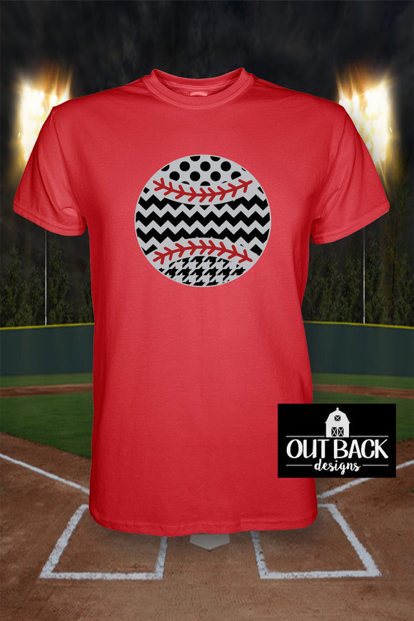 Patterned Baseball/Softball Vinyl T-Shirt