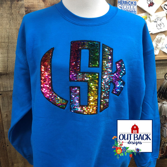 Toddler Sequined Monogram Sweatshirt