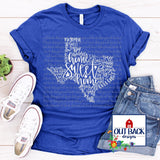 {WHOLESALE} Texas Words Screen Print T-Shirt