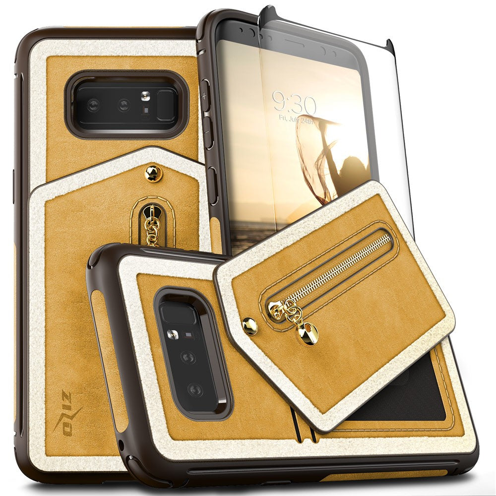 newest cf894 9c14b Samsung Galaxy Note 8 - Zizo Nebula Wallet Case with Full Tempered Glass  and Zipper Pouch Magnetic Closure in Premium PC - Light Brown / Brown w/ Fur