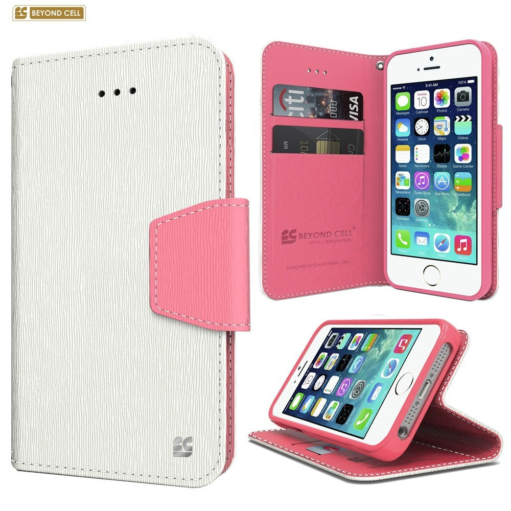 separation shoes 940f2 39601 Infolio Wallet Case for Apple iPhone 5 / 5S / SE White on Pink Leather