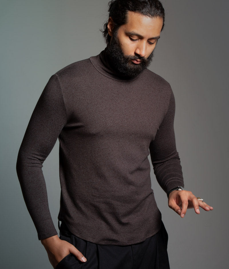 The Turtle Puppy - Mens Turtleneck - Cocoa / Creme