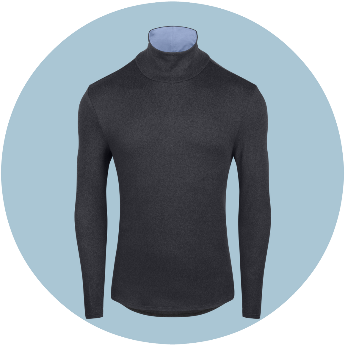 Black/Blue TRDLNYK Men's turtleneck for guys. Sleek and comfortable.