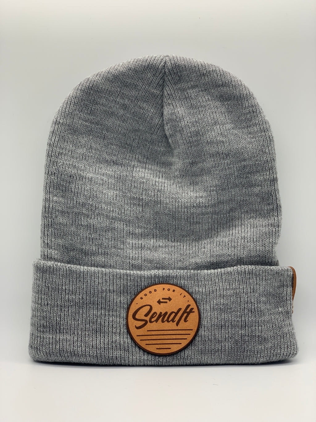 Send It Leather Patch Beanie