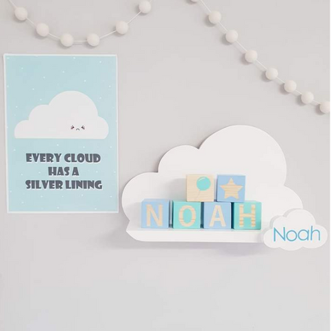 Personalising a cloud shelf with a name
