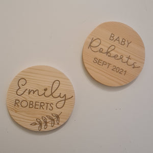 Personalised birth announcement disc