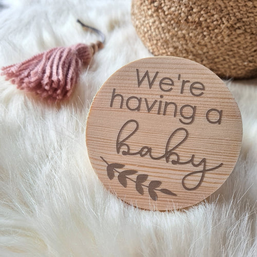 """Baby"" pregnancy announcement disc"