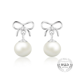 Bow and Teardrop Pearl Dangle Earrings