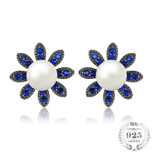 Blue Spinel And Pearl Round Cut Stud Earrings