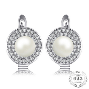 White Pearl Clip Earrings for Women Born in June
