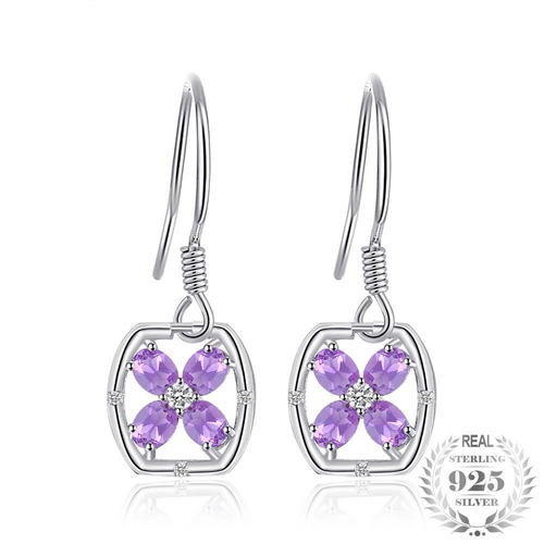 Purple Amethyst Flower Shaped Drop Earrings