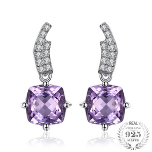 Lattice Square Natural Amethyst Stud Earrings for Women
