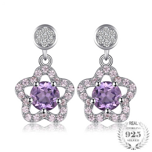 Star Shaped Round Cut Amethyst Drop Earrings