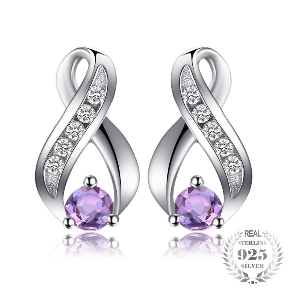 Intricately Designed Round Cut Amethyst Earrings
