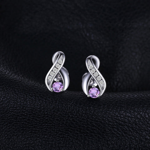 Image of Intricately Designed Round Cut Amethyst Earrings