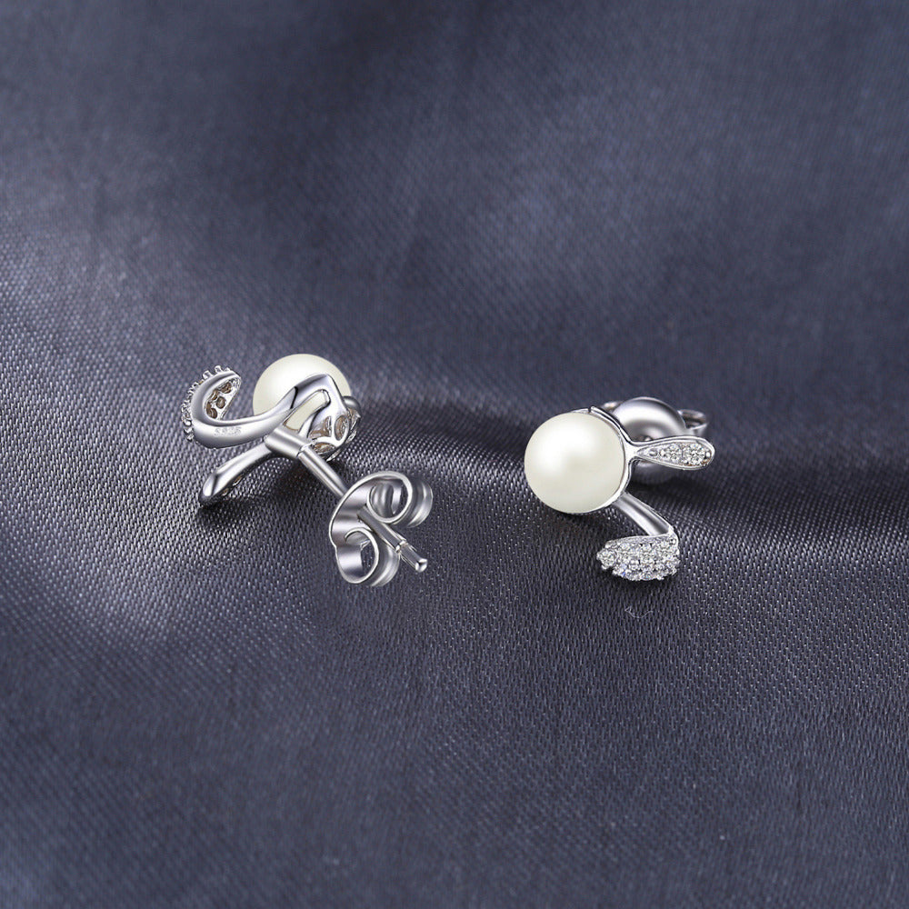 Bunny Ears Pearl Earrings for Women Born in June