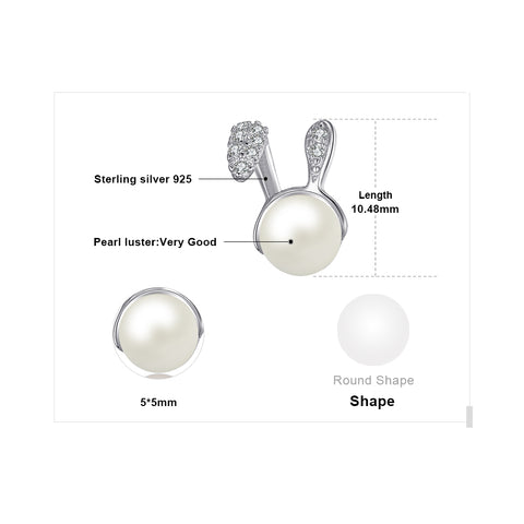 Image of Bunny Ears Pearl Earrings for Women Born in June