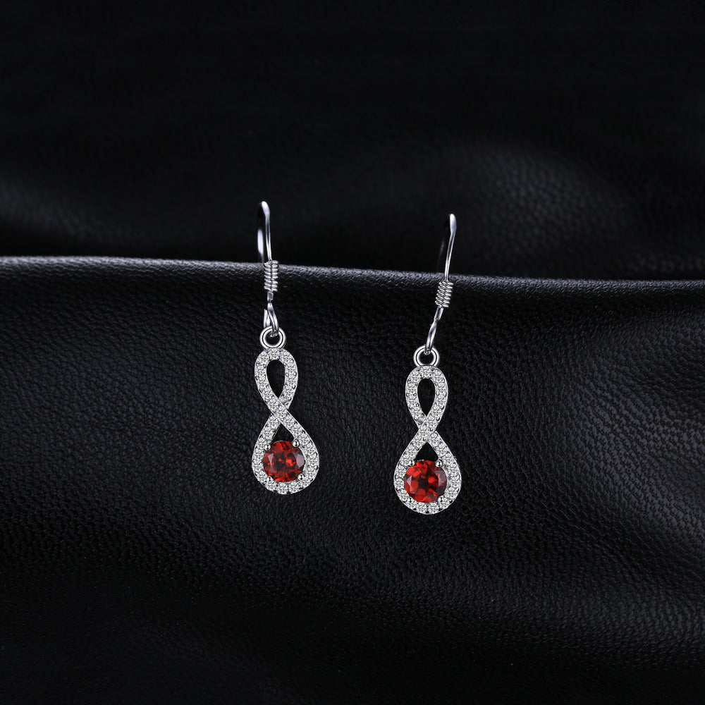 The Infinity I Earrings in Garnet
