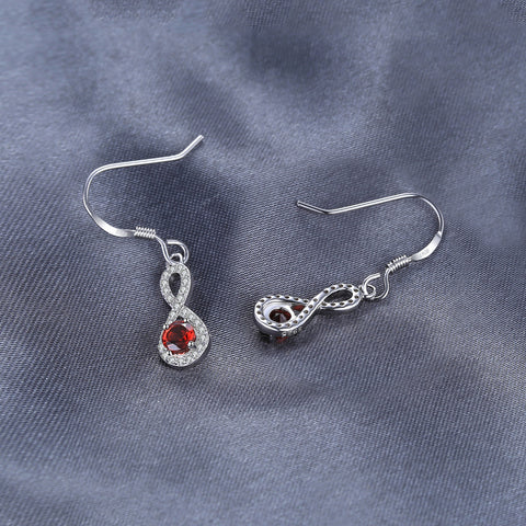 Image of The Infinity I Earrings in Garnet