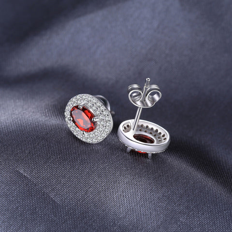 Image of On a Silver Platter (round) Earrings in Garnet