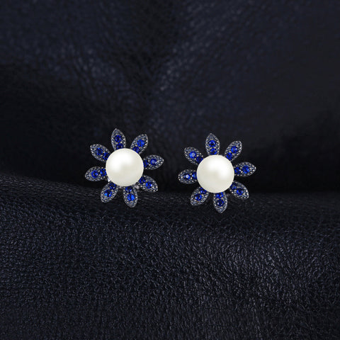Image of Blue Spinel And Pearl Round Cut Stud Earrings