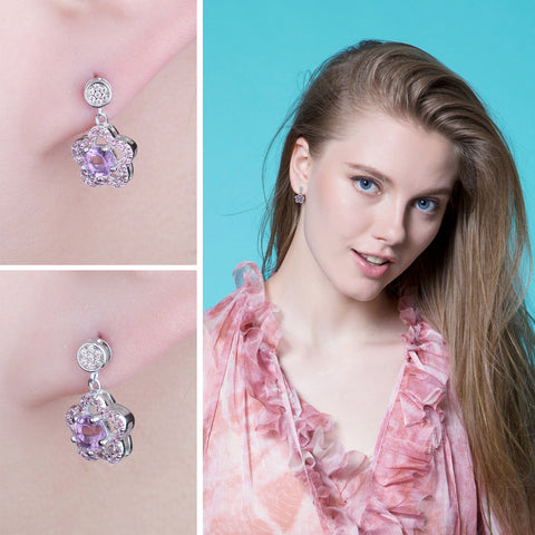 Image of Star Shaped Round Cut Amethyst Drop Earrings