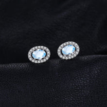 Oval Cut Natural Blue Topaz Earrings Natural for Women Born in November
