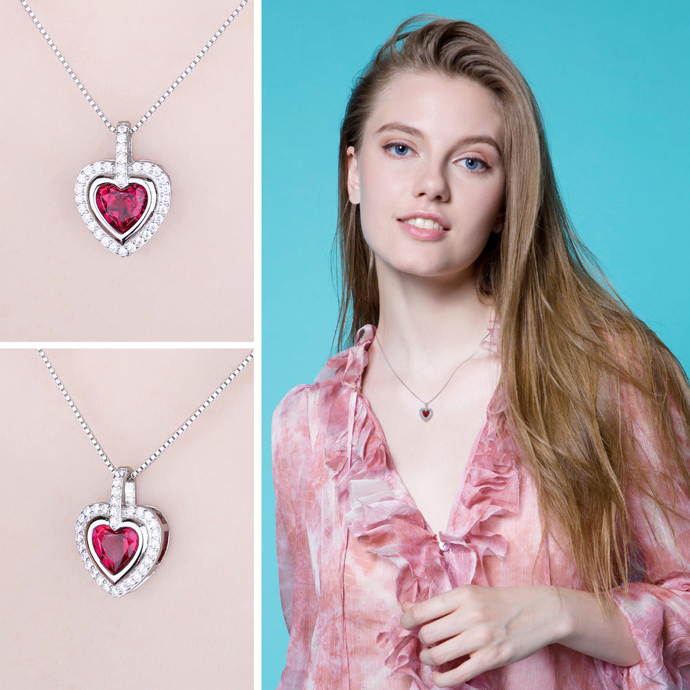 Romantic Ruby Heart Pendant For Lovers