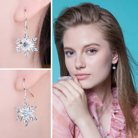 The Snowflake I Earrings in Blue Topaz