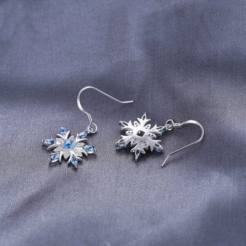 Image of The Snowflake I Earrings in Blue Topaz