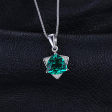 0.18 Triangle Shape Emerald Pendant For Women Born in May
