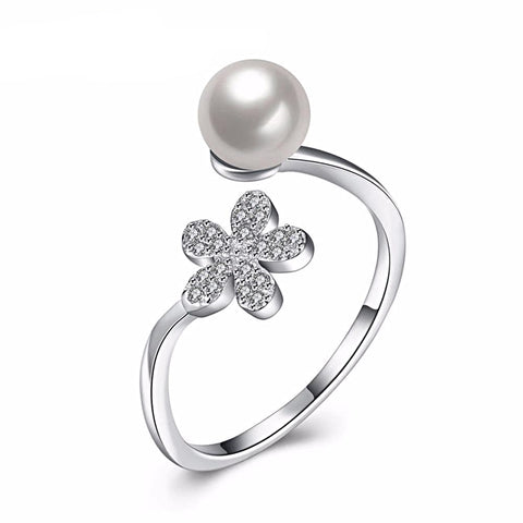 Pearl & Cubic Zirconia 925 Sterling Silver Adjustable Ring for Women Born in June