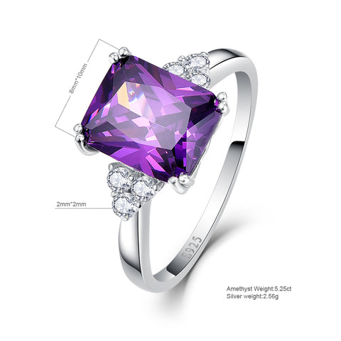 Princess Cut Violet Amethyst Sterling Silver Ring for Women Born in February