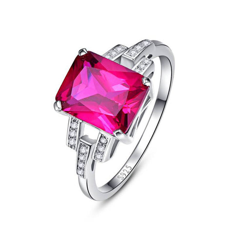 Image of Princess Cut Pink Ruby Sterling Silver Ring for Women Born in July