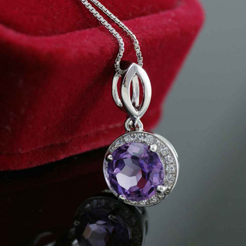 Image of Brilliant Cut Amethyst Gemstone Pendant Real Solid 925 Sterling Silver