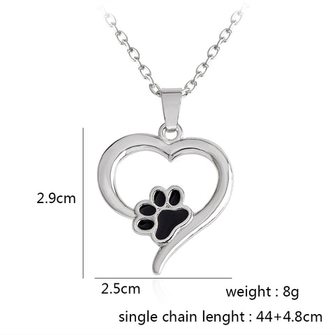 Image of Heart Paw Necklace Pet Memorial Necklace for Pet Lovers