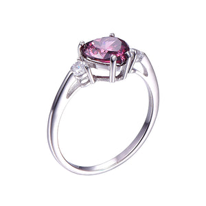Violet Garnet Heart Shape Sterling Silver Ring for Women Born in January