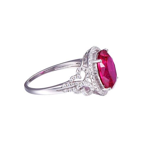 Image of Vintage Style Round Shape Pigeon Blood Red Ruby Ring in Sterling Silver for Women Born in July