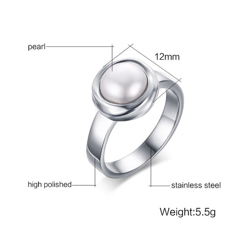 Image of Simulated Pearl Ring in Stainless Steel for Women Born in June