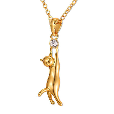Image of Cute Cat Necklace & Pendant For Women Gift Silver/Gold Color