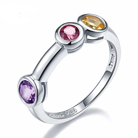Image of Stylish Amethyst Ring with Supportive Gemstones for Women Born in February