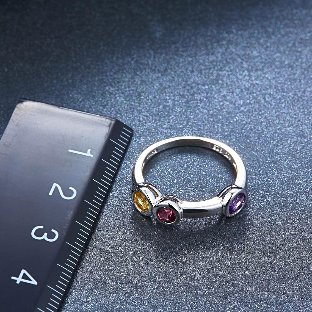 Stylish Amethyst Ring with Supportive Gemstones for Women Born in February