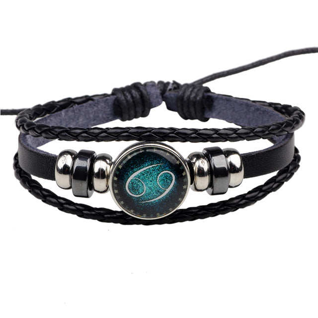 12 Constellation Zodiac Signs Bracelet beaded Handmade Charm Leather Bracelet Unisex